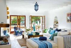 Mediterranean living rooms have also the same appearance as what your Mediterranean bedrooms do have. You must have a unified design with the rest of the Mediterranean inspired rooms. What I love most about this design is, there is a . Mediterranean Living Rooms, Mediterranean Decor, Mediterranean Architecture, Interior Design Living Room, Living Room Designs, Living Room Decor, House Design, Decor Ideas, Room Ideas