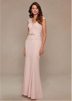 Fabulous Chiffon Floor-length Mother of the Bride Dresses with Beaded Lace Appliques