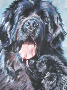 Newfoundland dog art CANVAS print of LA Shepard by TheDogLover, $39.99