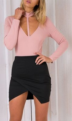 Smoke And Mirrors Pink Long Sleeve Mock Neck Plunge V Cut Out Bodysuit