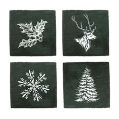 Assorted Holiday Slate Coasters