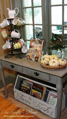 cookbooks...Simple touches fall home tour with Our Southern Home #fall #falltour #frenchcountry