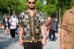 Josh Peskowitz in Dries Van Noten |  #trend PRINTS This Shirt Is the Street Style MVP of the Men's Shows #streetstyle #menswear #men