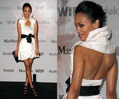 Zoe Saldana Wearing White Ruffle Wrap Max Mara Dress and Christian Louboutin Triple Bow Platforms