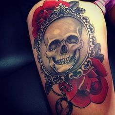 Framed skull and roses thigh tattoo - Skullspiration.com - skull designs, art, fashion and more