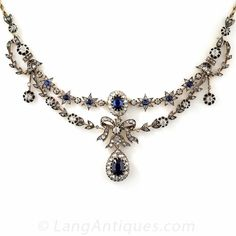 Victorian Sapphire and Diamond Necklace ($16,750) ❤ liked on Polyvore featuring jewelry, necklaces, diamond necklace, antique diamond necklace, royal blue necklace, bow necklaces and diamond star necklace