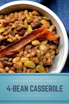 Baked bean casserole goes pro with a variety of beans and a molasses and vinegar sauce. This recipe is a crowd pleaser for your next picnic or potluck.