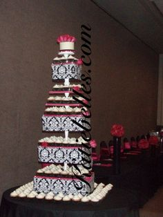 Black and White Wedding Cake and Cupcake Decorating Ideas cup-cake-towers cup-cake-towers