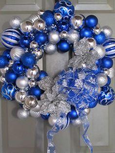 "Unbreakable Christmas ornament wreath. Used an 18"" styrofoam base and low-temp glue gun."