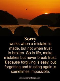 Sorry Quotes Sorry works when a mistake is made, but not when trust is broken. Motivational Quotes For Life, True Quotes, Qoutes, Inspirational Quotes, Broken Trust Quotes, Job Motivation, Sorry Quotes, Friends In Low Places, Trusting Again