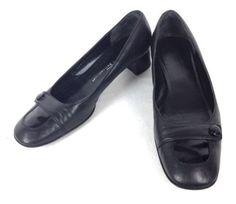 Salvatore Ferragamo Shoes Leather Black Italy Horsebit Kitten Heels Womens 8 5 B | eBay