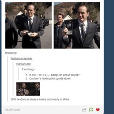 Upside-Down FBI Badges  ||| Supernatural Has a GIF for Everything ||| Supernatural + Avengers