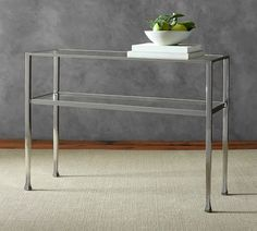 Tanner Rectangular Coffee Table - Polished Nickel finish   Pottery Barn