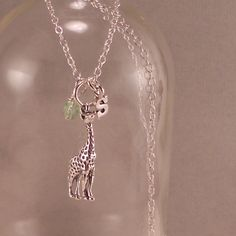 Giraffe Necklace, Little Girls Sterling Silver Necklace, childrens, child, birthday gift, initial, jewelry, personalized, giraffe, via Etsy.