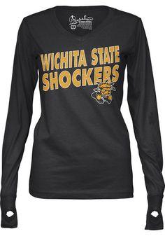 Wichita State Shockers Ladies Fit Tee - Black Shockers Phantom Long Sleeve Ladies Fit Tee http://www.rallyhouse.com/shop/wichita-state-shockers-pressbox-22640217?utm_source=pinterest&utm_medium=social&utm_campaign=Pinterest-WSUShockers $29.99