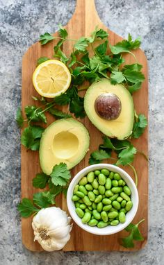 Rich and creamy edamame avocado hummus without tahini. Vegan and gluten free!