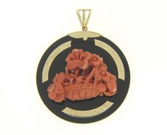 ROUND FLORAL CARVED SALMON CORAL BLACK ONYX 14K YELLOW GOLD MEDALLION PENDANT #Pendant