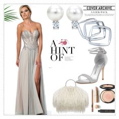 """""""A-line Sweetheart Sleeveless Floor-length Chiffon Prom Dress"""" by johnnymuller on Polyvore featuring GUESS by Marciano and Manolo Blahnik"""