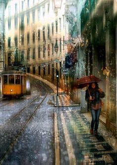 November rain,train and women By Eduard Gordeev.