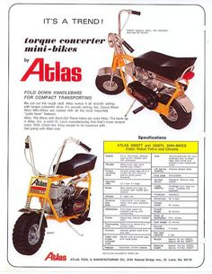Atlas Minibike Vintage Cycles, Vintage Bikes, Vintage Stuff, Small Motorcycles, Pocket Bike, Moped Scooter, Bikes For Sale, 50cc, Mini Bike