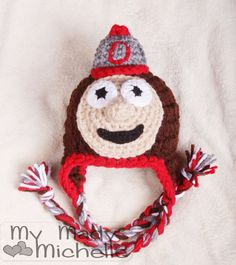 Ohio State Buckeye earflap hat for baby newborn to 1 year gift or photography prop