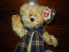 "$27.49 free shipping #TY #AtticTreasure #TeddyBear named BEARINGTON stuffed #plush 16"" plaid #scarf"