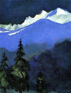 Fir Trees by Emil Nolde German Danish painter and printmaker. He was one of the first Expressionists. Mountain Art, Mountain Landscape, Winter Landscape, Landscape Art, Landscape Paintings, Art Paintings, Emil Nolde, Paul Gauguin, Ludwig Meidner