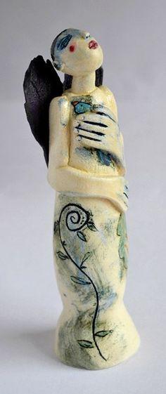 """Heart Bird"", sculpture in clay by Marina Bauguil"