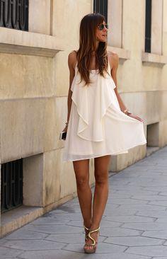 White Chain Spaghetti Strap Back Cross Asymmetric Hem Dress: Casual Dresses, Fashion Dresses, Summer Dresses, Beach Dresses, Dresses 2016, Dresses Dresses, Stylish Dresses, Look Chic, Looks Cool