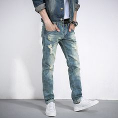 33.99$  Buy here - http://aixba.worlditems.win/all/product.php?id=32798993042 - The new hole in jeans Straight men's cultivate one's morality The beggar pants men Young men's  Straight leisure trousers J033-1