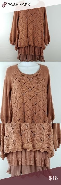 """Simply Couture Tunic Sweater Layered Lagen look Simply Couture Tunic Sweater  Women's Size Extra Large  Brown  Layered/Lagenlook  Good Preowned Condition Measurements, Laying Flat, Approximate: Armpit to Armpit:  21"""" Length:  32"""" Simply Couture Tops Tunics"""