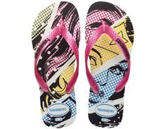 I love these for 3 reasons: the colors, the comic book/Roy Lichtenstein printing syle, and because they are Wonder Woman (duh!) <3  Havaianas Heroes - us.havaianas.com