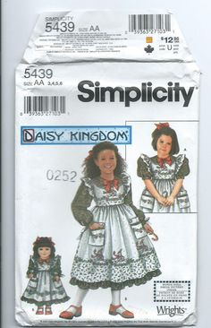 new UNUSED 3 4 5 6 child dress +doll pattern Daisy Kingdom Simplicity 5439 #Simplicity