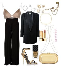 How to wear The pantsuit by iamminx on Polyvore featuring polyvore fashion style Yves Saint Laurent Rick Owens T By Alexander Wang Tom Ford BCBGMAXAZRIA Jennifer Zeuner Emi Jewellery Miss Selfridge Charlotte Russe Lynn Ban Cartier Gucci clothing thepantsuit