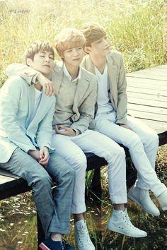 EXO in Nature Republic (Xiumin, Luhan, and Chen)