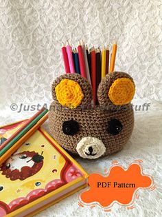 Brown Bear Bowl is not only a creation of adorable amigurumi art, but also a bowl that can contain your bits and bobs, mobile phones, pens and pencils, goodies and sweets, crochet hooks, etc.