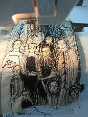 Cathy Cullis makes interesting embroidered cuffs, pictures and wall-hangings.