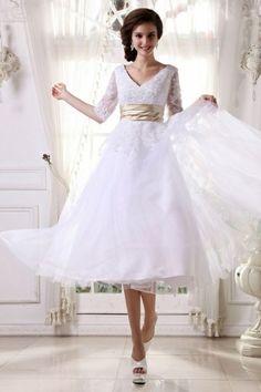 V-Ausschnitt Applikation Band wadenlanges Brautkleid mit Halb-Ärmel