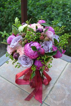 Букет невесты с лентой марсала, Одесса, отзывы, фото, цветочная мастерская Барабарис