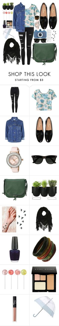 """Outfit #9"" by whale-in-the-sea ❤ liked on Polyvore featuring Topshop, WithChic, Ted Baker, Ray-Ban, Vince Camuto, Authentics, Charlotte Russe, OPI, Bobbi Brown Cosmetics and NARS Cosmetics"