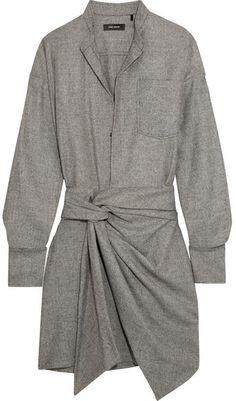 Isabel Marant - Khol Wrap-effect Woven Mini Dress - Gray