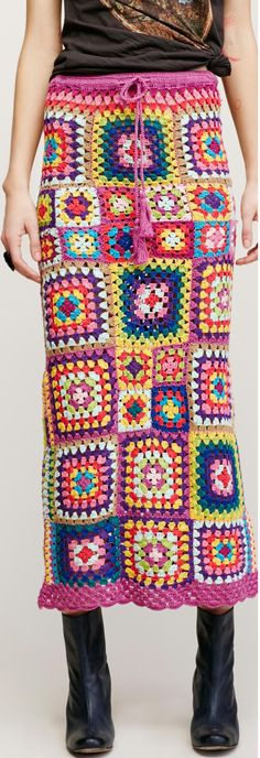 Free People - granny square crochet skirt