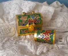 Vintage Brass Thimble and Matching Box Cloisonne by cynthiasattic, $25.00