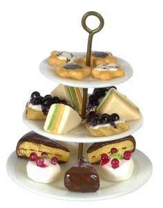 3 Tier Plate w/ Blueberry Pie | Mary's Dollhouse Miniatures