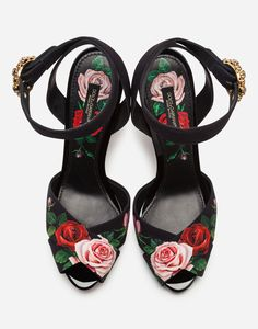 Our love story with floral prints continues.Printed charmeuse Bette sandals with pink sculptural heel: Nude Shoes, Black Shoes, Stiletto Heels, Cute High Heels, Platform High Heels, Floral Sandals, Women's Sandals, Gladiator Shoes, Types Of Heels