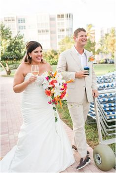 Bride & Groom refreshing after the ceremony at a Tropical Beach Wedding | South Florida Wedding Photographer | Crystal Bolin Photography (67)