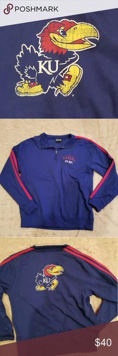 KU pullover Blue KU 1/4 zip collared pullover. 2 red stripes down sleeves. Jayhawk on back. Worn once. Shirts Sweatshirts & Hoodies