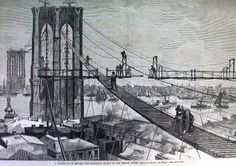 A harrowing catwalk connects the shores. Image courtesy Brooklyn Historical Society.