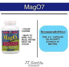 Who knows about Mag07? It's not MANDATORY on the 10-day green smoothie cleanse, but many have used this to enhance their success! It will help you cleanse the colon of of old fecal matter and waste, and help the body eliminate toxins.. remember, releasing toxins, releases weight.... It's described in more detail in Chapter 5 and 7. I've only see it in the Vitamin Shoppe and on Amazon... -  JJ Smith