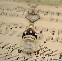 Message in a bottle DREAMS silver glass glitter, pears, rhinestone heart… Jewelry Crafts, Jewelry Art, Beaded Jewelry, Vintage Jewelry, Jewelry Necklaces, Handmade Jewelry, Jewelry Design, Jewlery, Resin Crafts